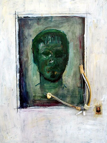 Self-Portrait as Saint Mixed Media 1999, Ken Vallario