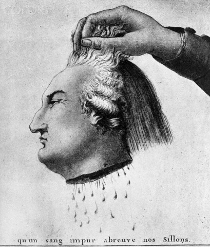 Political Cartoon of the Severed Head of Louis XVI
